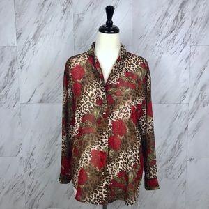 Vintage Tops - Vintage Leopard and Floral Sheer Blouse